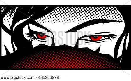 Eyes Are Red In The Style Of Manga And Anime.