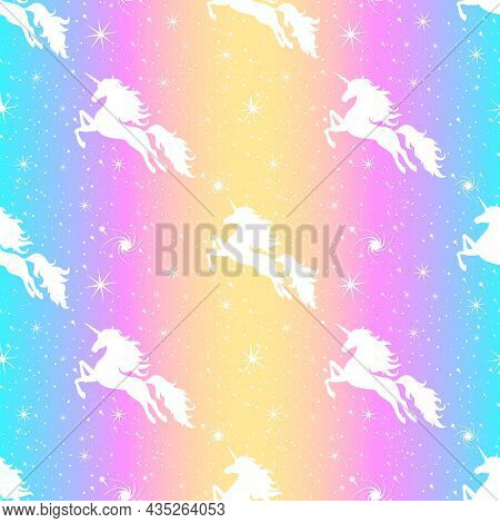 Unicorn And Stars Seamless Pattern. Silhouette Of A Flying Unicorn On The Starry Sky.