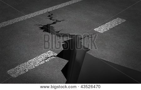 Failed strategy and journey problems with an asphalt highway with painted lines and broken by a huge crack splitting the road into two parts poster