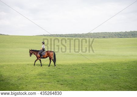 Side View Of Female Horseman Riding Brown Thoroughbred Horse On Green Meadow In Countryside. Concept