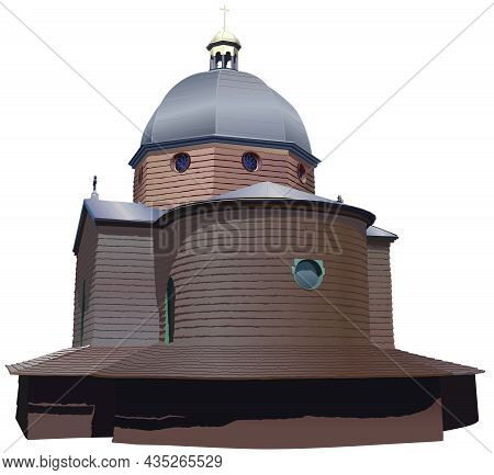 Wooden Church Exterior - Colored And Detailed Historical Church As Colored Illustration Isolated On