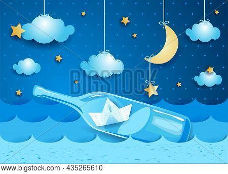 Fantasy Seascape With Bottle And Paper Boat, Paper Art. Vector Illustration Eps10
