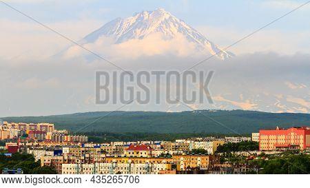 View Of The City Petropavlovsk-kamchatsky On Background Of Koryaksky Volcano. Russian Far East, Kamc
