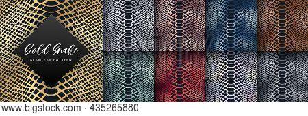 Trendy Snake Skin Gold Vector Seamless Pattern Set. Wild Animal Reptile Skin, Shiny Golden, Silver,