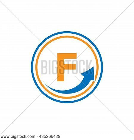 Finance Logo With Growth Arrow On F Letter. Letter F Marketing And Financial Business Logo Template