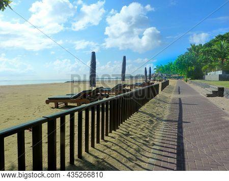 Embankment Tropical Island. Zen Concept. Desert Beach, Pathway , Early Morning. Sanur Beach, Bali, I