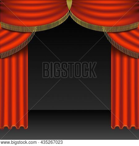 Open Red Stage Curtains Pulled To The Side Of An Empty Stage - Colored Background Illustration, Vect