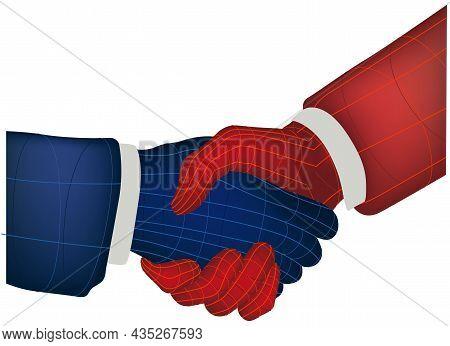 Handshake - Shaking Virtual Hands Illustration Isolated On White Background, Vector