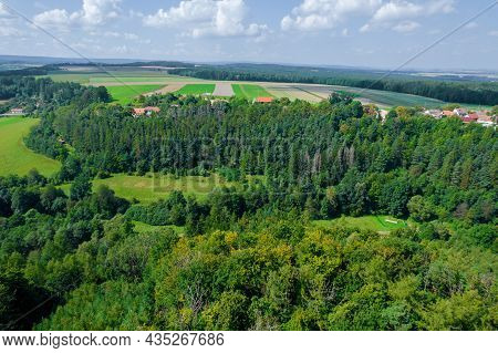 Landscaped Countryside. Village Near The Forest. View From Above. Photo From A Drone.