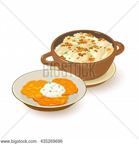 Hot Homemade Ukrainian Dish, Hash Browns With Sour Cream, Pieces Of Lard. Vector National Cuisine, N