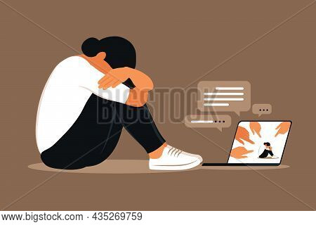 Cyber Bullying. Depressed Woman Sitting On The Floor. Opinion And The Pressure Of Society. Shame. Ve