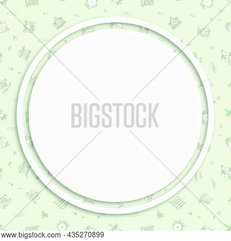 Circle Frame, Background On Seamless Pattern With Doodle Linear Icons. Geography, Globe, Calculator,