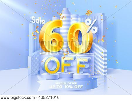 60 Off. Discount Creative Composition. 3d Sale Symbol With Decorative Objects, Golden Confetti, Podi