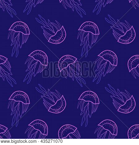 Doodle, Hand Drawn Jellyfish Vector Seamless Pattern Background For Nature And Sea Life Design.