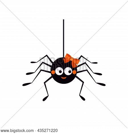 Cute Spider Hanging On A String Of Cob Web Cartoon Vector