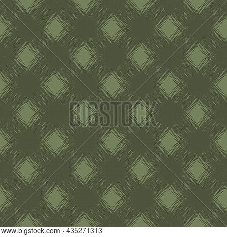 Diagonal Scrim Linen Weave Texture Vector Pattern. Seamless Monochrome Sage Green Woven Yarn Effect