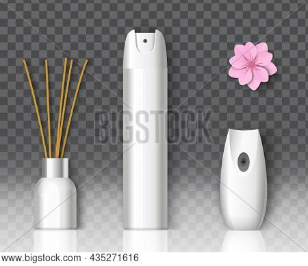 Air Freshener Packaging Spray Bottle, Home Fragrance Reed Diffuser Mockup Set, Vector Illustration.