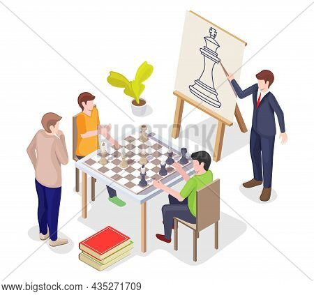 Teacher, Trainer Teaching People To Play Strategy Board Game, Vector Isometric Illustration. Chess A