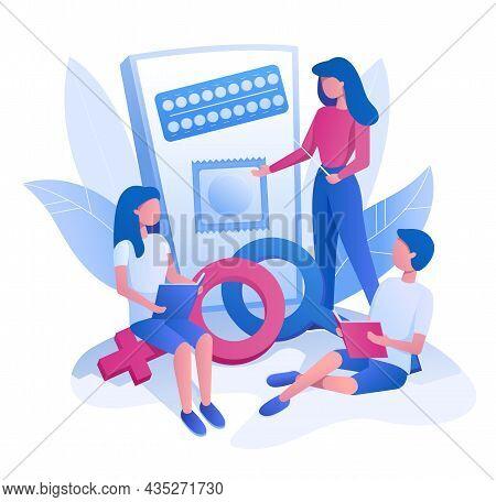Female Teacher Teaching Students Sexual Health, Vector Illustration. Contraceptive Sex Education, Se