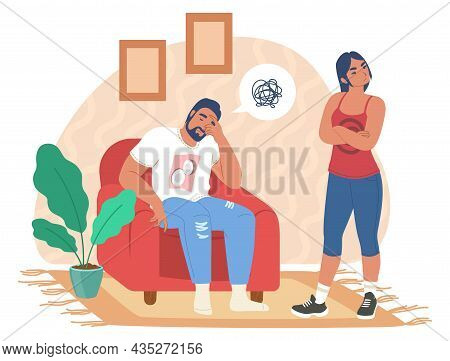 Unhappy Family Couple Having Relationship Problems. Marriage Conflict, Crisis, Disagreement Divorce,