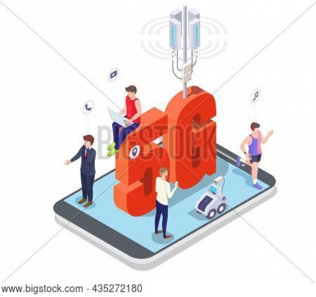 5g Cell Tower, People Using Mobile Phone, Laptop, Smart Watch On Smartphone Screen. 5g Network Mobil