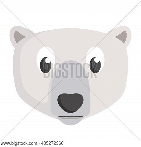 Polar Bear Face Front View. Animal Head In Cartoon Style.