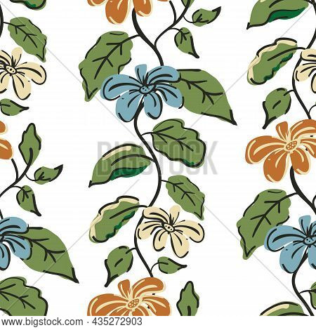 Trailing Florals Vector Seamless Pattern Background. Arts And Crafts Style Ochre, Blue Flowers, Gree
