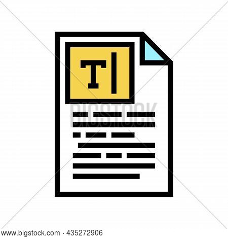 Copywriting Text Color Icon Vector. Copywriting Text Sign. Isolated Symbol Illustration