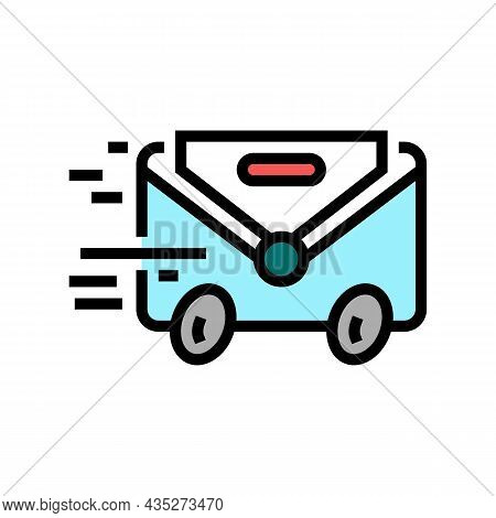 Express Mail Color Icon Vector. Express Mail Sign. Isolated Symbol Illustration