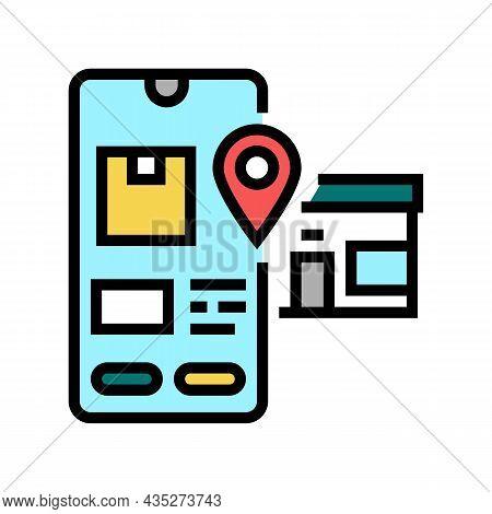 Pick Up Location Delivery Color Icon Vector. Pick Up Location Delivery Sign. Isolated Symbol Illustr