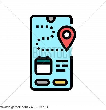 Tracking Delivery Color Icon Vector. Tracking Delivery Sign. Isolated Symbol Illustration
