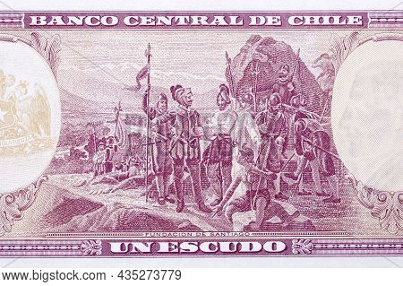 Founding Of Santiago From Old Chilean Money