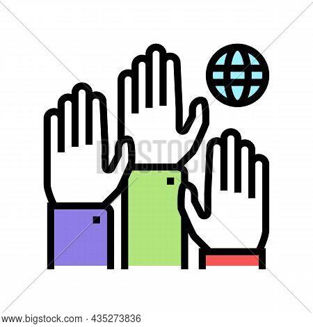 Democracy World Color Icon Vector. Democracy World Sign. Isolated Symbol Illustration