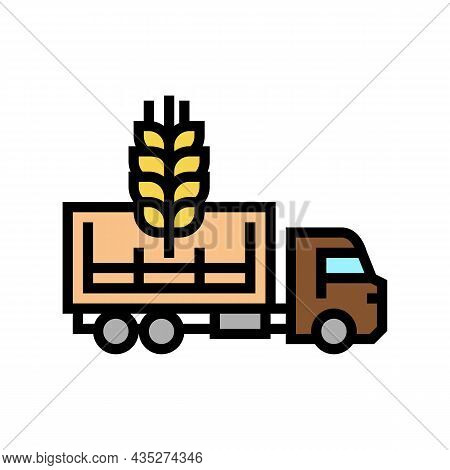 Delivery Wheat Color Icon Vector. Delivery Wheat Sign. Isolated Symbol Illustration