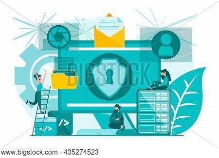 Information Security Data Protection Social Media Online Internet Authorization. Concept Vector Illu