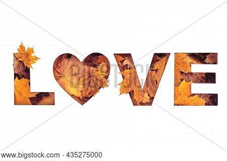 Love Text Filled With Texture Of Yellow And Orange Fall Maple Leaves