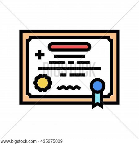Medical License Color Icon Vector. Medical License Sign. Isolated Symbol Illustration