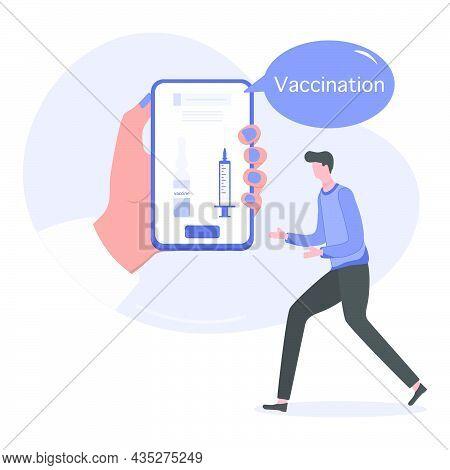 Vector Illustration Cell Phone Hand Syringe Covid-19 Vaccine Bottle Covid Vaccination Invitation Imm