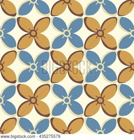 Simple Medieval Style Stylized Flowers Vector Pattern Background. Hand Drawn Gold Ochre Blue Floral