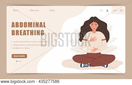 Diaphragmatic Breathing. Landing Page Template. Girl Practicing Abdominal Breathing For Good Relaxat