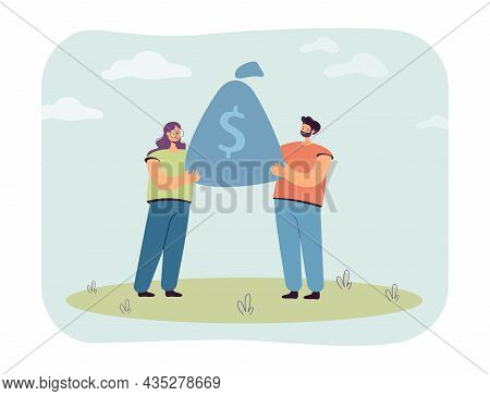 Married Cartoon Couple Holding Huge Bag Of Money Together. Husband And Wife Saving Money Flat Vector