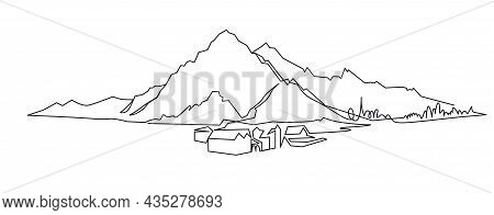 Mountain Landscape Continuous One Line Vector Drawing. Mount Hand Drawn Silhouette. Nature, Rock Pan