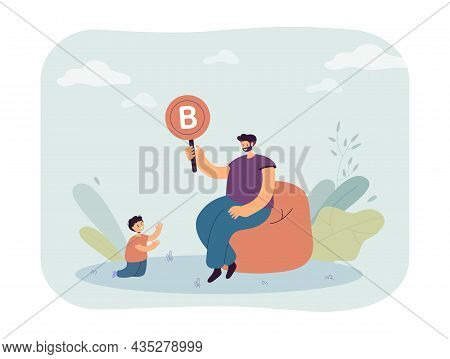 Father And Son Studying Alphabet Together. Man Holding Card With Letter B In Hand, Teaching Boy Flat