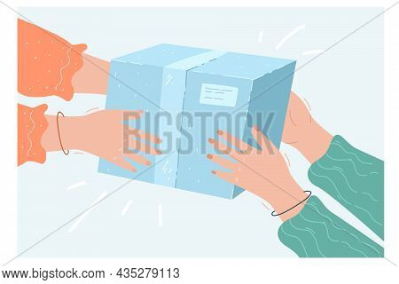 Hands Of Two Women Holding Gift Box Together. Female Friend Giving Surprise Package, Person Moving B