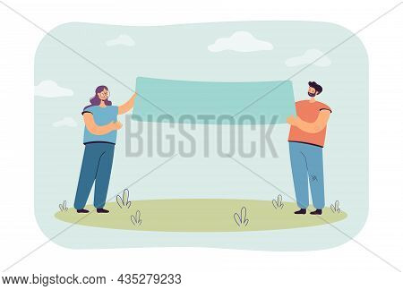 Happy Cartoon Couple Holding Blank Banner Together. Husband And Wife Showing Advertisement Flat Vect