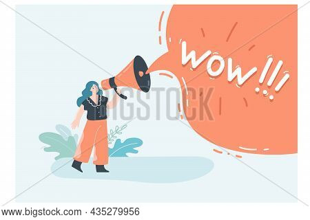 Woman Shouting Wow Message Into Megaphone. Tiny Female Speaker Character Holding Loudspeaker, Drawin