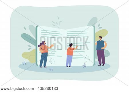 Family People Reading Book Together. Tiny Mother, Father, Son Standing Near Big Book Flat Vector Ill