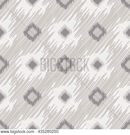 Shibori Style Ikat Vector Seamless Vector Pattern Background. Scribbled Diamond Shapes Backdrop In M