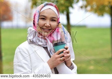 Portrait Of Beautiful Pretty Asian Muslim Young Woman , Islamic Girl Is Wearing On Her Head Hijab Sc
