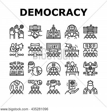 Democracy Government Politic Icons Set Vector. Democracy Parliament And Political Voting, Citizen Pa